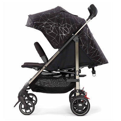Diono Flexa Luxe Compact Stroller in Black Platinum side view and reclined