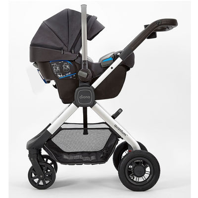 Diono Quantum Classic Stroller in Grey Dark with car seat