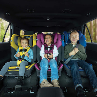 Children sitting 3-across in Diono Radian® 3QX Latch Ultimate All-in-One Convertible Car Seats