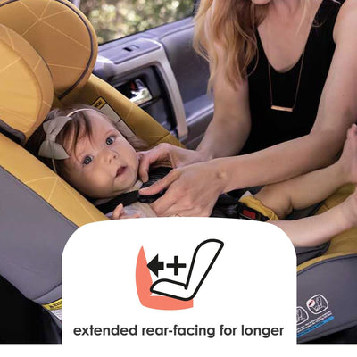 Baby sitting in Diono Radian® 3 RXT Convertible+Booster Car Seat in Yellow Sulphur