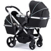 iCandy Peach Blossom Twin Stroller in Chrome Chassis and Beluga Black Fabrics