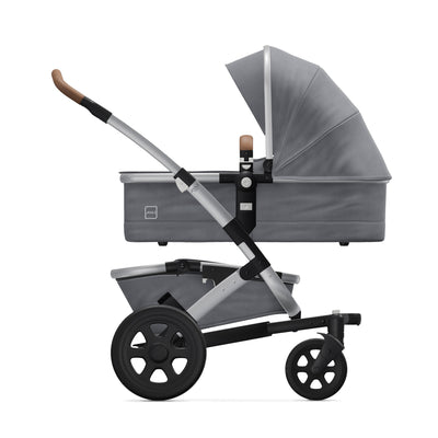 Joolz Geo² Mono Complete Stroller in Gorgeous Grey with bassinet side view