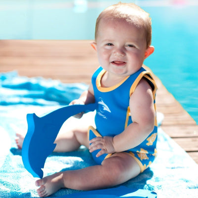Baby in the pool wearing Konfidence Babywarma Wetsuit