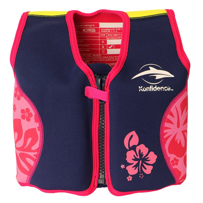 Konfidence Swim Jacket in Navy Hibiscus