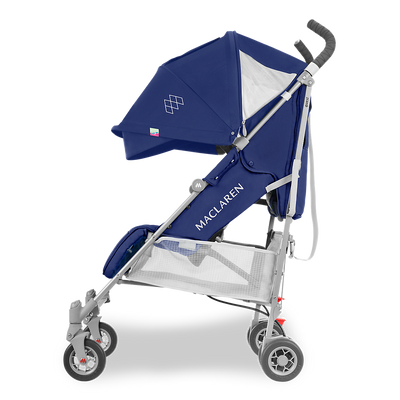 Maclaren 2018 Quest Stroller in Medieval Blue/Silver side view