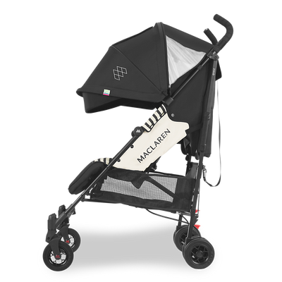 Maclaren 2018 Quest Stroller in Railroad Stripe side view