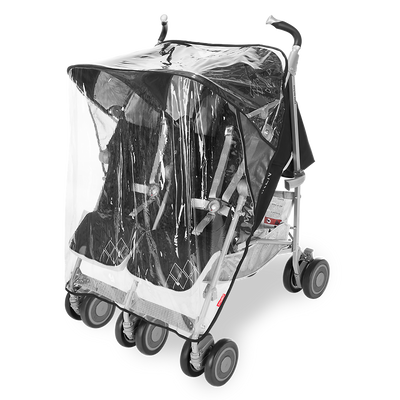 Maclaren Twin Techno Stroller in Black with rain cover