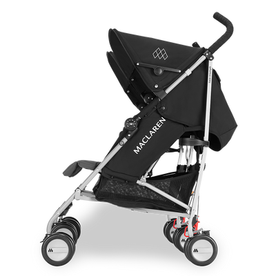 Maclaren Twin Triumph Stroller in Black and Charcoal side view