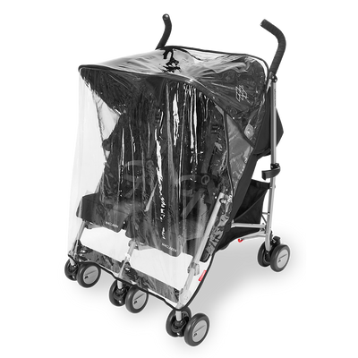 Maclaren Twin Triumph Stroller in Black and Charcoal with rain cover