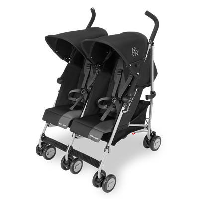 Maclaren Twin Triumph Stroller in Black and Charcoal