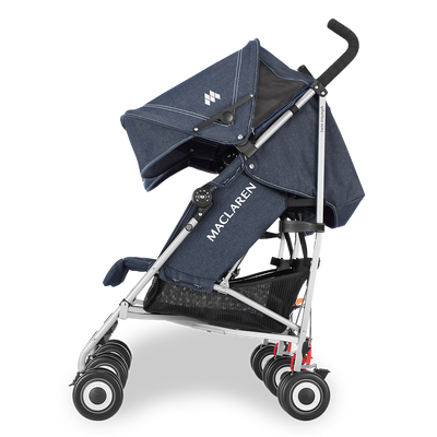 Maclaren Twin Triumph Denim Stroller side view