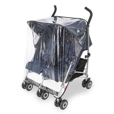 Maclaren Twin Triumph Denim Stroller with rain cover