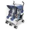 Maclaren Twin Triumph Stroller in Medieval Blue and Silver with rain cover
