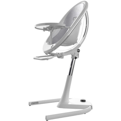 Mima Moon 2G White High Chair in Silver