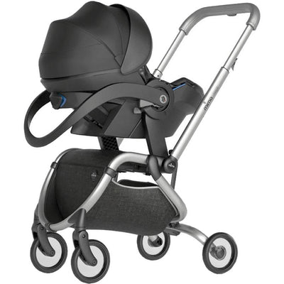 Mima Zigi Stroller in Charcoal with Infant Car Seat