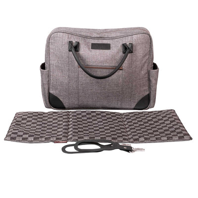 Mountain Buggy Cosmopolitan Geo Luxury Stroller's diaper bag, changing mat and clips