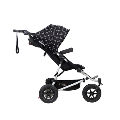 Mountain Buggy Duet V3 Double Stroller in Grid side view