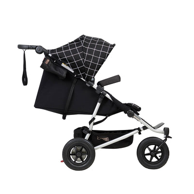 Mountain Buggy Duet V3 Double Stroller in Grid side view reclining