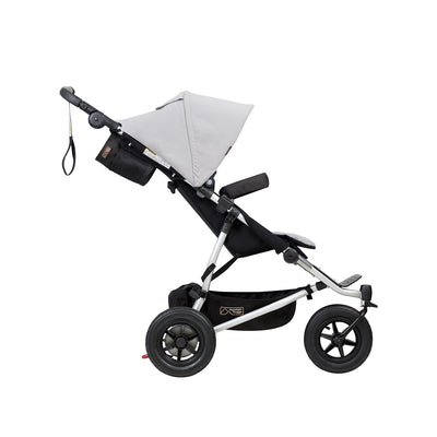 Mountain Buggy Duet V3 Double Stroller in Silver side view