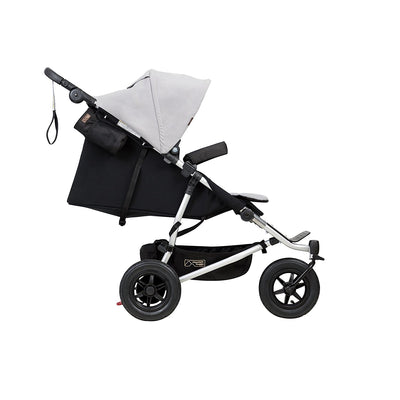 Mountain Buggy Duet V3 Double Stroller in Silver side view reclining