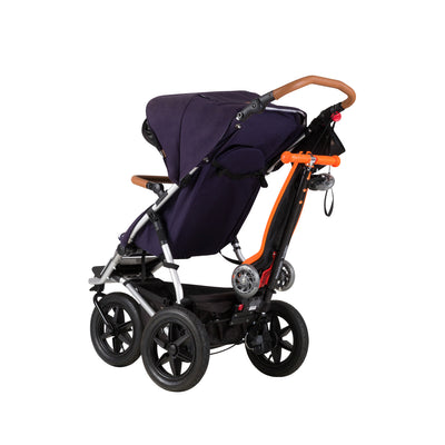 Mountain Buggy Freerider Stroller Board/Scooter in Orange attached to stroller
