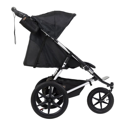 Mountain Buggy Terrain Active Jogging Stroller in Onyx side view with seat reclined