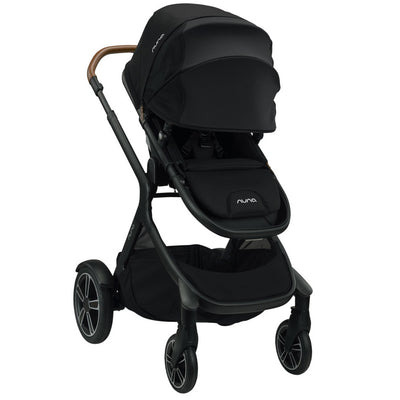 Nuna DEMI™ Grow Stroller + Adapters + Rain Cover + Magnetic Buckle in Caviar with canopy extended