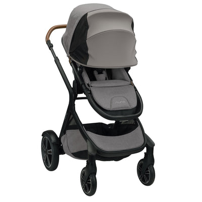 Nuna DEMI™ Grow Stroller + Adapters + Rain Cover + Magnetic Buckle in Frost with canopy extended