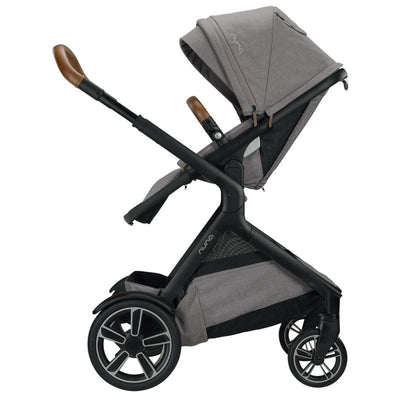 Nuna DEMI™ Grow Stroller + Adapters + Rain Cover + Magnetic Buckle in Frost with seat reversed