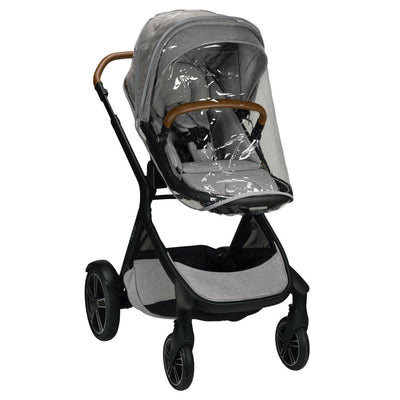 Nuna DEMI™ Grow Stroller + Adapters + Rain Cover + Magnetic Buckle in Frost with rain cover
