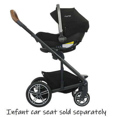 Nuna MIXX 2019 Stroller in Caviar with infant car seat attached