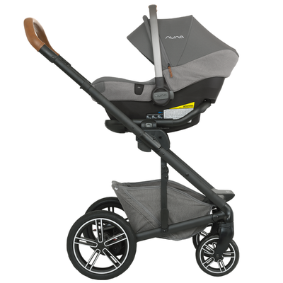 Nuna MIXX Stroller in Oxford with PIPA car seat attached