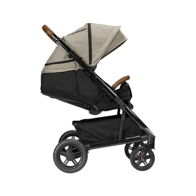 Nuna TAVO Next Stroller in Timber side view with seat reclined
