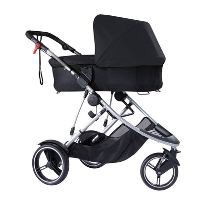 Phil&teds Dash Snug Carrycot in Black on Dash stroller