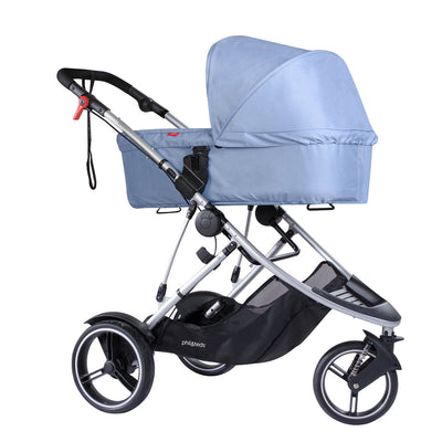 Phil&teds Dash Snug Carrycot in Blue Marl on Dash stroller