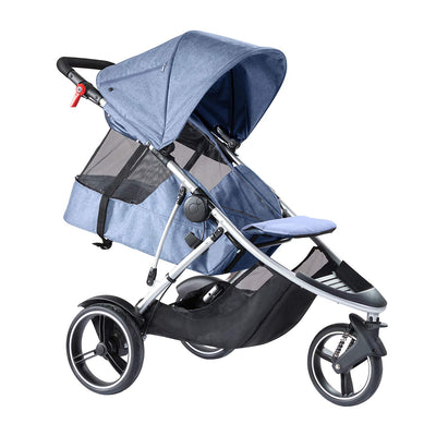 Phil&teds Dash Stroller in Blue Marl with seat reclined