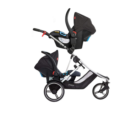 Phil&teds Dash Stroller with two infant car seats attached
