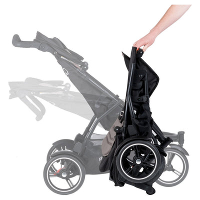 Phil&teds Dot Stroller + Double Kit in Graphite folding