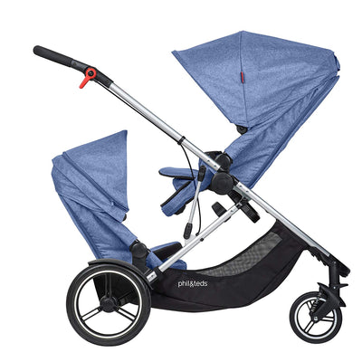 Phil&teds Voyager Stroller + Double Kit in Blue Marl