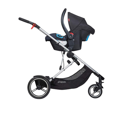 Phil&teds Voyager Stroller in Black with infant car seat