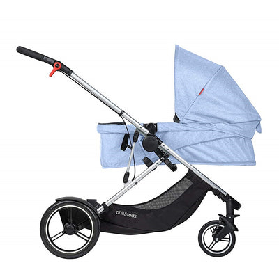 Phil&teds Voyager Stroller in Blue Marl in Bassinet mode