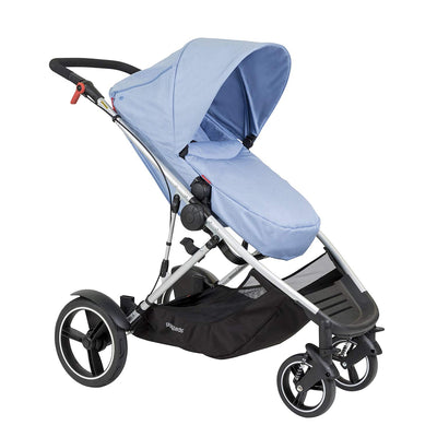 Phil&teds Voyager Stroller in Blue Marl with footmuff