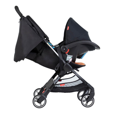 Phil&teds GO™ Lightweight Stroller in Rust with Infant Car seat attached