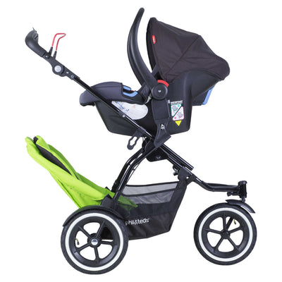 Phil&teds Sport Stroller in Apple with Double Kit and infant car seat