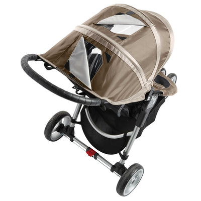 Baby Jogger City Mini® Stroller in Sand/Stone showing window in the canopy