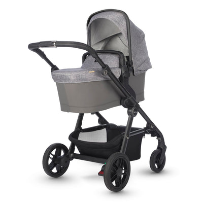 Silver Cross Coast Stroller in Limestone with bassinet attached