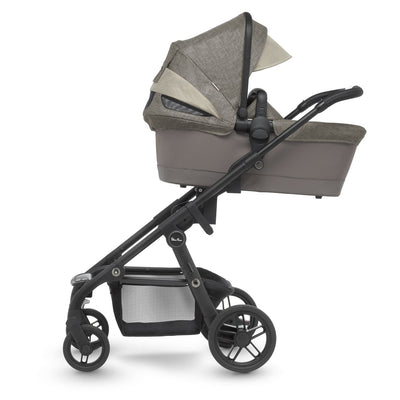 Silver Cross Coast Stroller in Tundra with bassinet attached