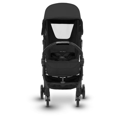 Silver Cross Jet Ultra Compact Stroller in Ebony reclining and mesh vent open