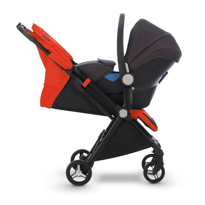 Silver Cross Jet Ultra Compact Stroller in Mandarin with infant car seat as a travel system