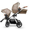 Silver Cross Wave Stroller in Linen With Seat and Bassinet Configuration